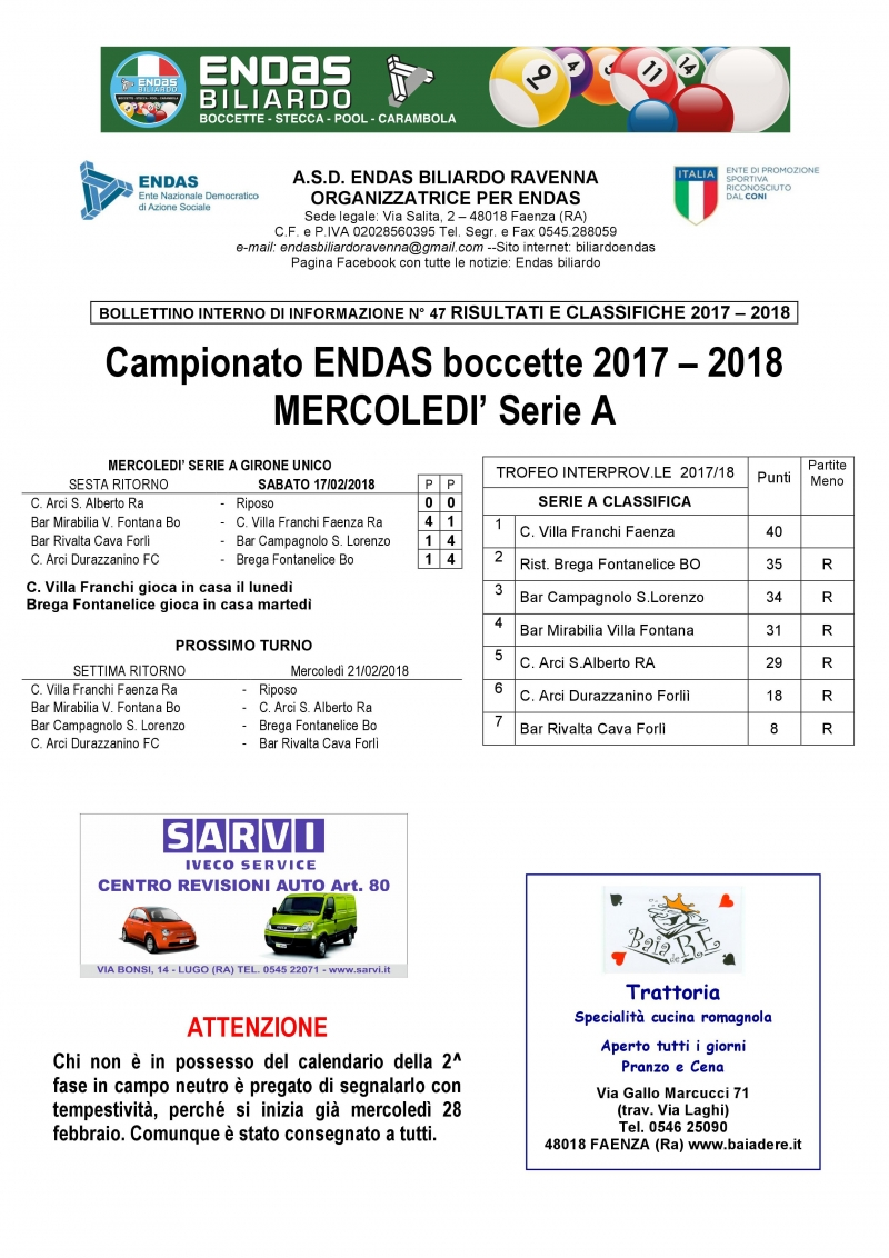 Serie A Calendario 6 Giornata.6 Giornata Ritorno Serie A Mercoledi